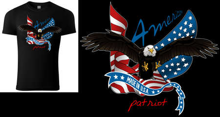 T-shirt Design with Flying Bald Eagle and US Flag - Colored Illustration Isolated on Black Background, Vector