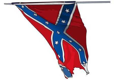 Flag of Confederate States Army in USA - Colored Illustration Isolated on White Background, Vector Graphic