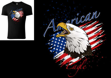 T-shirt Design with Bald Eagle and Torn American Flag - Colored Illustration with Grunge Decoration Isolated on Black Background, Vector