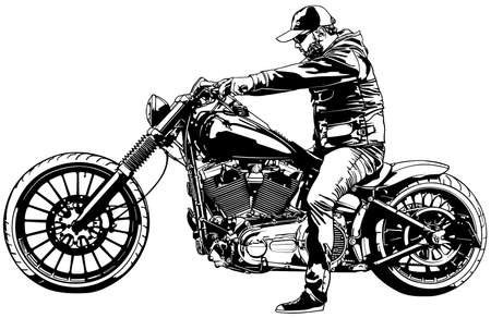 Motorcyclist on  Motorcycle - Black and White Drawing Illustration Isolated on White Background, Vector