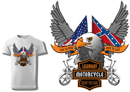 T-shirt Design for Motorcyclists with Eagle Head and Flags and Decorative Wings and Banners - Colored Illustration Isolated on White Background, Vector 矢量图像