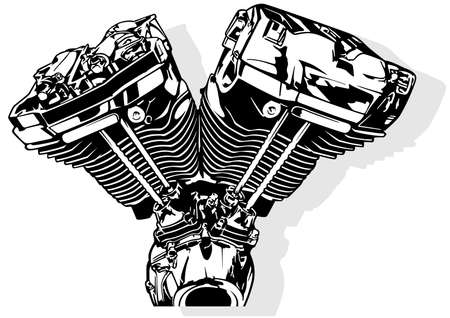 Black and White Illustration of a Motorcycle Engine - Picture Isolated on White Background, Vector