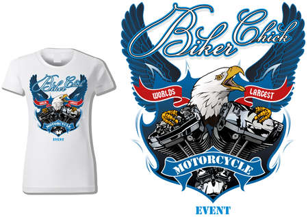 T-shirt Design for Woman Bikers with Eagle and Engine with Decorative Wings and Banners and Texts - Colored Illustration Isolated on White Background, Vector Illusztráció