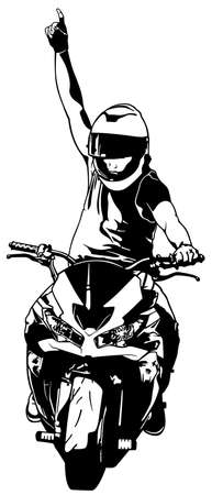 Black and White Drawing of a Biker on a Motorcycle with a Raised Hand Pointing His Finger - Isolated Picture on White Background, Vector