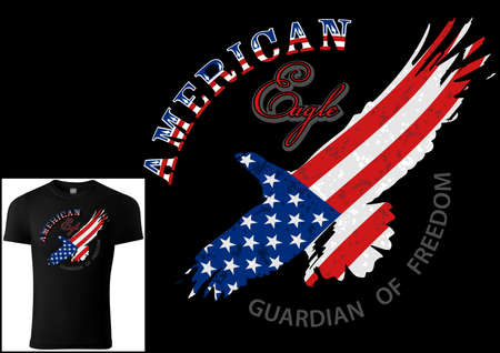 T-shirt Design American Eagle Silhouette with American Flag - Colored Illustration with Grunge Effect Isolated on Black Background, Vector Illusztráció