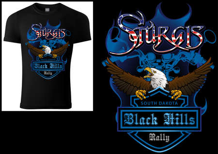 T-shirt Design Sturgis with Bald Eagle and Blue Coat of Arm and Blue Motorcycle Drawing - Colored Illustration Isolated on Black Background, Vector