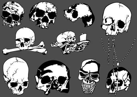 Set of Black and White Human Skulls Isolated on Gray Background - Design Element Illustrations, Vector Illusztráció