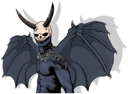 Dark Horned Demon with Wings - Colored Scary Halloween Illustration Isolated on White Background, Vector