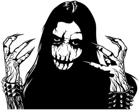 Corpse Paint Makeup - Black and White Sketch as Design Element for Black Metal or Death Metal or Metal Music Design, Vector Illustration Illusztráció