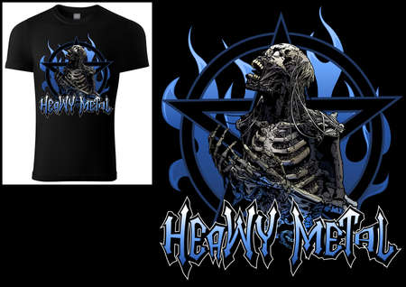 T-shirt Design Heavy Metal with Scary Skeleton and Pentagram and Blue Flames Background - Colored Illustration isolated on Black, Vector Illusztráció