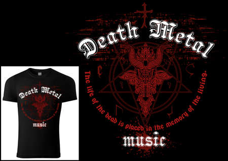 T-shirt Design Death Metal with Red Satanism Symbol and Grunge Pattern - Colored Illustration Isolated on Black Background, Vector