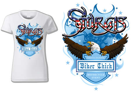 T-shirt Design Sturgis with Bald Eagle and Blue Coat of Arm and Blue Motorcycle Drawing - Colored Illustration Isolated on White Background, Vector
