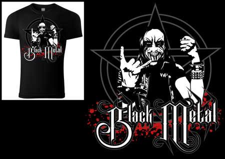 Corpse Paint T-shirt Gothic Black Metal Design - Illustration with Man Figure and Pentagram and Bloody Grunge Decoration, Vector Illusztráció