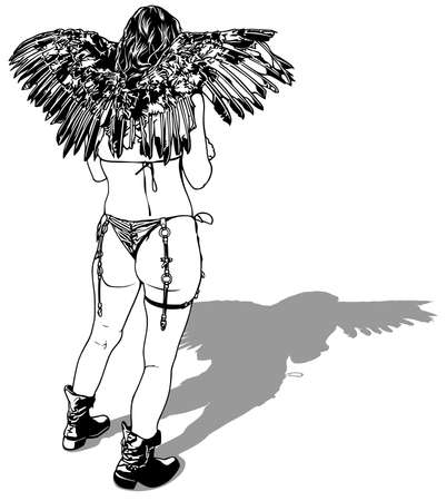 Rear View of a Woman with Wings Drawing - Black and White Illustration Isolated on White Background, Vector