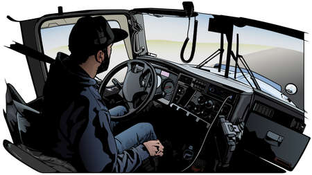 Professional Truck Driver Driving Truck Vehicle Going for a Long Transportation Route - Colored Illustration, Vector
