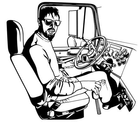 Professional Truck Driver Driving Truck Vehicle Going for a Long Transportation Route - Black and White Illustration, Vector
