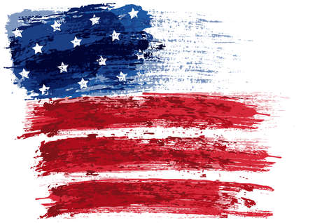 American Flag Painted with a Brush - Colored Illustration with Paintbrush Effect Isolated on White Background, Vector