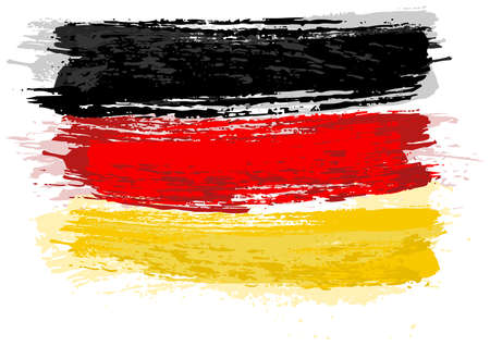 German Flag Painted with a Brush - Colored Illustration with Paintbrush Effect Isolated on White Background, Vector Illusztráció
