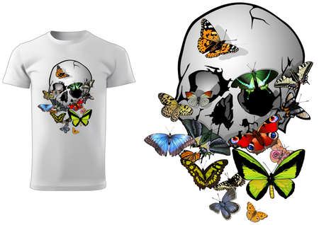 Skull with Butterflies T-shirt Design - Colorful Illustration Isolated on White Background, Vector