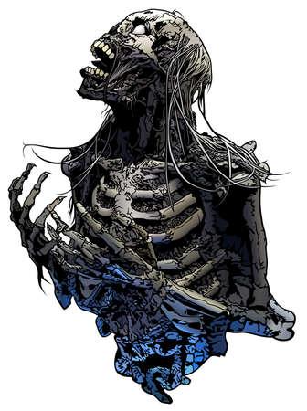 Horror Skeleton Illustration Isolated on White Background - Scary Design Element for Halloween or Metal Music Design, Vector Illusztráció