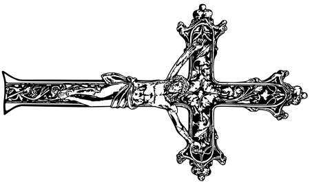 Black and White Crucifix - Ornamental Religious Cross with Christ Isolated on White Background, Vector Graphic