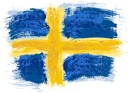 Swedish Flag Painted with a Brush - Colored Illustration with Paintbrush Effect Isolated on White Background, Vector