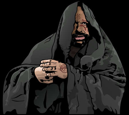 Mysterious Monk with Magic Tattoo - Colored Illustration Isolated on Black Background, Vector Illusztráció