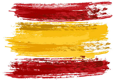 Spain Flag Painted with a Brush - Colored Illustration with Paintbrush Effect Isolated on White Background, Vector Illusztráció