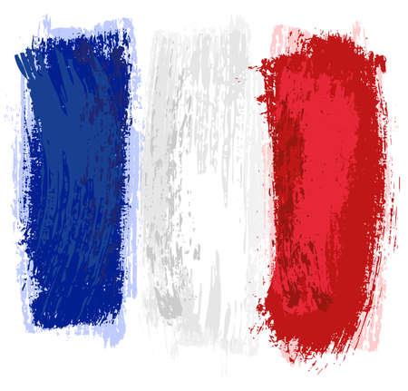 France Flag Painted with a Brush - Colored Illustration with Paintbrush Effect Isolated on White Background, Vector Illusztráció