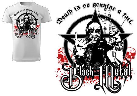 Corpse Paint T-shirt Gothic Black Metal Design - Illustration with Man Figure and Pentagram and Bloody Decoration, Vector Illusztráció