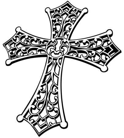 Black and White Carved Religious Cross - Ornamental Cross with Isolated on White Background, Vector Graphic