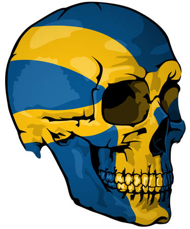 Swedish Flag Painted on a Skull - Design Element with National Colors for Your Graphic Illustrations Isolated on White Background, Vector Illusztráció