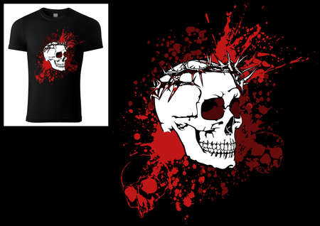 Design of a T-shirt Skull with a Crown of Thorns on a Bloody Ink Smudge - Colored Illustration Isolated on Black Background, Vector
