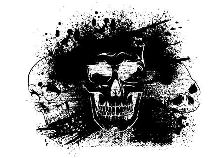 Drawing Skulls on an Ink Blot - Abstract Artistic Illustration for T-shirt Print Design and Other Graphic Designs, Vector