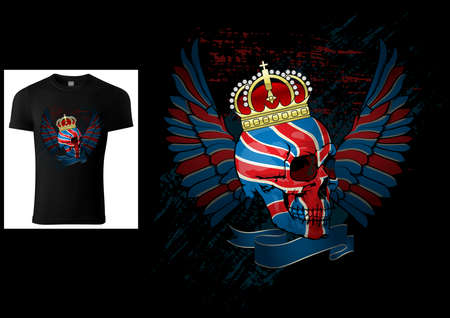 T-shirt Design with a Skull Painted with UK Flag - Colored Patriotic Illustration with Wings and Grunge Effect Isolated on Black Background, Vector