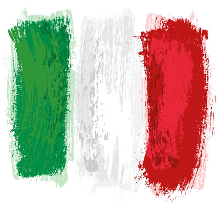 Italian Flag Painted with a Brush - Colored Illustration with Paintbrush Effect Isolated on White Background, Vector Illusztráció