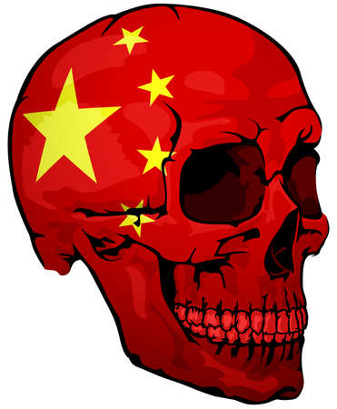 Chinese Flag Painted on a Skull - Design Element with National Colors for Your Graphic Illustrations Isolated on White Background, Vector
