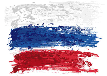 Russian Flag Painted with a Brush - Colored Illustration with Paintbrush Effect Isolated on White Background, Vector Illusztráció