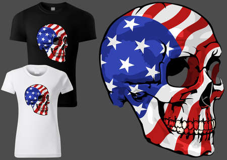 T-shirt Design with a Skull Painted with the American Flag - Colored Illustration Isolated on Gray Background with Two T-shirt Samples, Vector