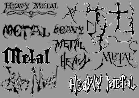 Calligraphic Lettering and Decorations for Heavy Metal Designs - Black and White Text Illustrations Isolated on Gray Background, Vector Illusztráció