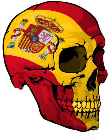 Spanish Flag Painted on a Skull - Design Element with National Colors for Your Graphic Illustrations Isolated on White Background, Vector