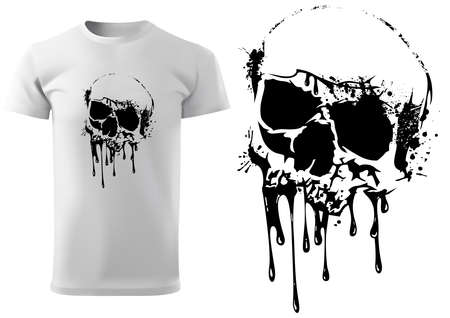 T-shirt Design with Skull and Dripping Black Paint - Black Illustration Isolated on White Background, Vector