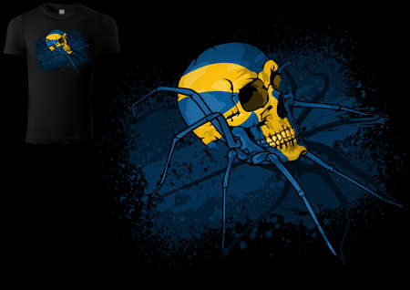 T-shirt Design with a Spider Skull Painted with Swedish Flag - Colored Illustration with Decorative Stain and Grunge Effect Isolated on Black Background, Vector