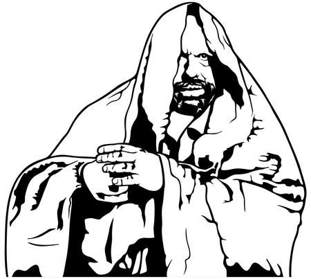 Mysterious Monk in a Priests Robe  - Black Illustration Isolated on White Background, Vector Illusztráció
