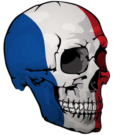 French Flag Painted on a Skull - Design Element with National Colors for Your Graphic Illustrations Isolated on White Background, Vector