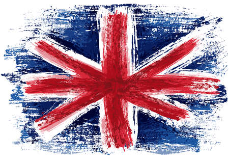 United Kingdom Flag Painted with a Brush - Colored Illustration with Paintbrush Effect Isolated on White Background, Vector