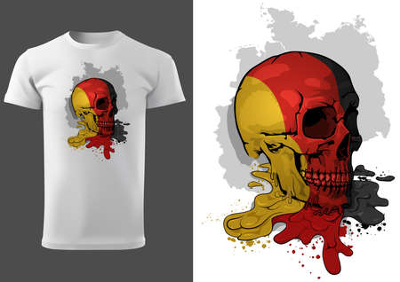 T-shirt Design with a Skull Painted with German Flag - Colored Illustration with Dripping Paint Isolated on White Background, Vector Illusztráció