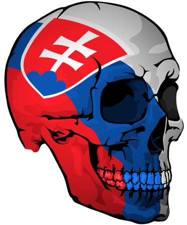 Slovak Flag Painted on a Skull - Design Element with National Colors for Your Graphic Illustrations Isolated on White Background, Vector