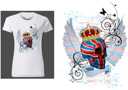 T-shirt Design with a Skull Painted with UK Flag - Colored Illustration with Wings and Decorative Floral and Grunge Effect Isolated on White Background, Vector