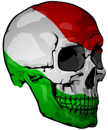 Italian Flag Painted on a Skull - Design Element with National Colors for Your Graphic Illustrations Isolated on White Background, Vector